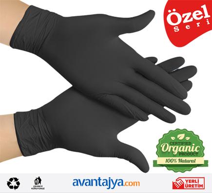 Pudrasız Natural Organik Eldiven 100 ADET Siyah (1 Paket)
