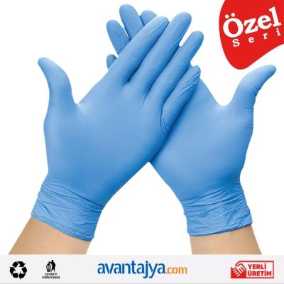Pudrasız Natural Organik Eldiven 100 ADET Mavi - POWDER FREE GLOVE