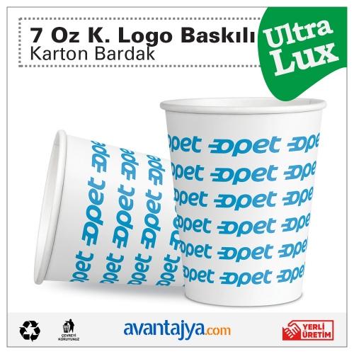 7 Oz Kurumsal 4 Renk Logo Baskılı Deluxe Karton Bardak 3000 Adet (1 Koli)